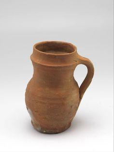 "jug, Anonymous, 1300 - 1400 | Museum Boijmans Van Beuningen 17.3, 11.7 cm,  6.8"" tall 4.5 diameter (rim?)"