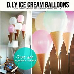Create these super cute ice-cream cones using just balloons, paper, and ribbon. Great for an ice-cream party!