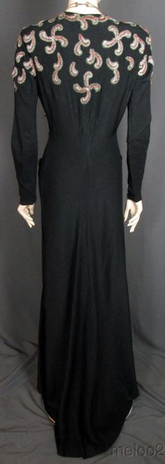 The Best 1940s Beaded Black Crepe Evening Gown w Jewels