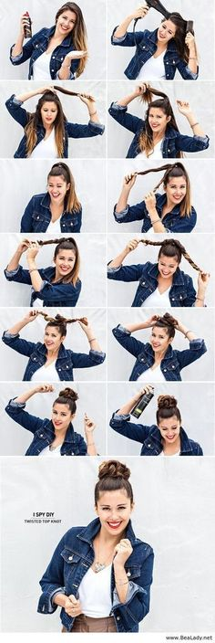33 Coole Haaranleitungen für den Sommer Cool Hair Tutorials for Summer – Twisted Top Knot – Easy Hairstyles and Creative Looks for Hair – Beachy Waves, Hair Styles for Short Hair, Medium Length and Long Hair – Ponytails, Updo Ideas and Quick Last Minute H No Heat Hairstyles, Pretty Hairstyles, Simple Hairstyles, Braided Hairstyles, Wedding Hairstyles, Braided Updo, Braided Pony, Latest Hairstyles, Office Hairstyles