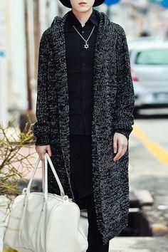 Loose-Fitting Hooded Long Sleeve Lengthen Woolen Yarn Knit Blends Cardigan For Men