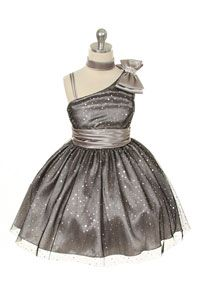 Flower Girl Dress Style 231 - Satin Dress with Sequin Detail and Shoulder Bow