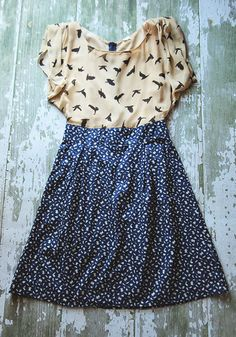 """The Sparrows Nest"" Anthropologie Bird Print Dress 