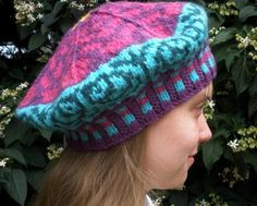 Zinnia Tam:  Crocheted Fair Isle Tam with a zinnia pattern on the top!  From Mountain Mist Fiberworks https://www.etsy.com/shop/MountainMist