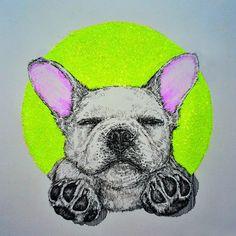 SUNDAY FACE  #Sunday #Sundayface #Frenchie #frenchbulldog #dog #neon #pink #bleekerthefrenchie #weworewhat #puppy #fluro #drawing #illustration