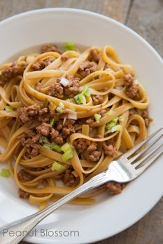 Chinese Noodles with pork & spicy peanut sauce Recipe on Yummly. @yummly #recipe
