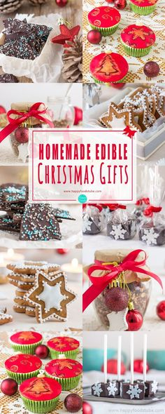 Are you looking for homemade edible Christmas gifts? These sweet treats wrapped in festive packaging make great gifts for your family and friends! #homemade #edible #christmas #gifts #holidays #inexpensive #stockingstuffers #DIY #easy #xmas via @happyfoodstube
