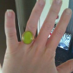 Green gold tone ring green ring size 7 claire s jewelry rings