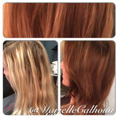 Copper And Blonde Balayage Curly Medium Hairstyle Rose Gold Brown Hair