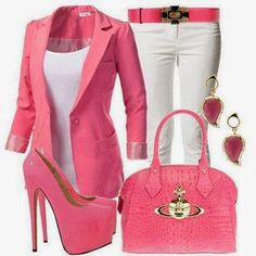 Classic pink outfit - would wear a lower heel Look Fashion, Trendy Fashion, Fashion Outfits, Womens Fashion, Fashion Trends, Fashion Fall, Fashion Design, Pink Outfits, Cool Outfits
