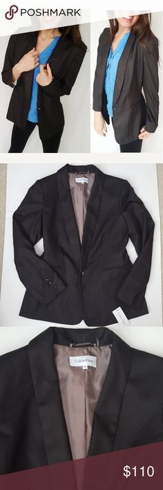 NWT Calvin Klein size 8 black blazer -C2 New with tags! Gorgeous Calvin Klein blazer, size 8. One button closure. Long line lapel makes this very flattering! Light shoulder padding. One style option is to cuff the sleeve for a more casual look (see 7th picture). Bundle up! Offers always welcome!:)  Shop my husband's closet! @kirchingeraaron Calvin Klein Jackets & Coats Blazers