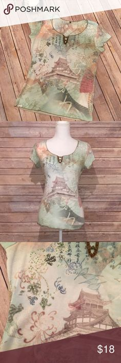 """One World T-Shirt Pretty One World T-Shirt. Excellent condition.   Shoulder; 14"""" Bust: 18"""" Length: 23""""  All measurements are taken with garment lying flat and are approximate.  50% Polyester  50% Cotton   4113 One World Tops Tees - Short Sleeve"""