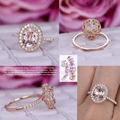 Oval Morganite Engagement Ring Moissanite Wedding 14K Rose Gold 8x10mm