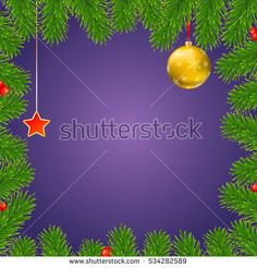 Christmas background with fir branches, red viburnum berries, Christmas balls, beads, a red star with ash trim, New Year ornaments and streamers on blue background, template for greeting cards.