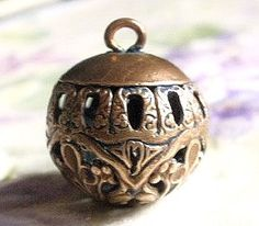 Antique metal button ball shaped Cricket Cage a by TheLadyatSkiers
