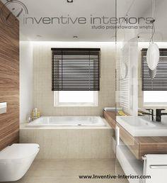 Projekt łazienki Inventive Interiors - mozaika beżowa i fornir orzech w łazience