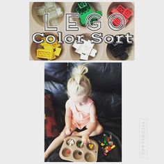 Lego Color Sort {Color sorting activities are Breelies favorite right now!} #toddlerlearning #toddlerfun #toddlerplay #toddleractivity #toddleractivities #toddlercolors