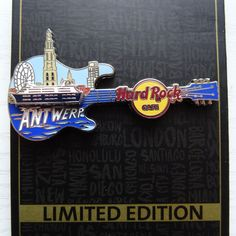 Pin Hard Rock Cafe Antwerp City Guitar with slide Ship Limited Edition 2017 NEW  | eBay
