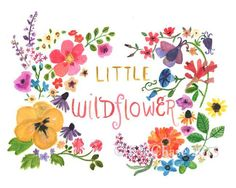 Add a Bohemian splash of color to your little wildflower's room with this sweet, hand-painted print! - art print from an original watercolor, gouache, and acrylic painting by Kit Chase. - archival mat