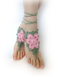Crochet Barefoot Sandals  Pink Flowers Green Leaves  by VividBear, $12.00