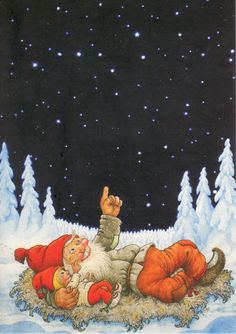 Gnomes at a night outing Norwegian Christmas, Scandinavian Christmas, Christmas Gnome, Christmas Art, Vintage Christmas Cards, Vintage Cards, Creation Photo, Elves And Fairies, Christmas Pictures
