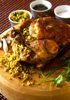 MOROCCAN-SPICED ROAST CHICKEN with LEBANESE COUSCOUS, SHIITAKE & HERB ...