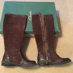Clarks leather boots Comfortable, warm Clarks leather boots. Super cute can't be dressed up for our night out. Clarks Shoes Winter & Rain Boots