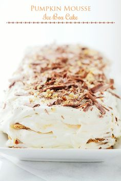 Pumpkin Mousse Ice Box Cake - No-bake cake made with silky, sweet Pumpkin Mousse nestled between layers of graham crackers and Vanilla Whipped Cream.