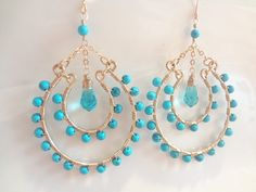 Gold Earrings Turquoise Aquamarine Crystals  by viancamercedes, $88.00