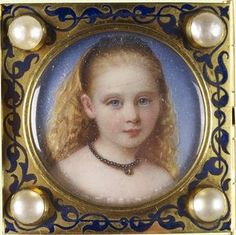 Another part of the bracelet of miniatures given by Albert to Victoria. This is a miniature of Princess Beatrice. Artist - William Charles Bell.