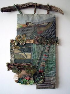 """Autumn"" - mixed media wall hanging by Jenny Beasley. She used memories of a South Yorkshire childhood to inform this piece. #fiber_art #landscape #textiles"