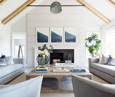 Great room: love the white ceiling with simple wood beams and simple iron crossbar