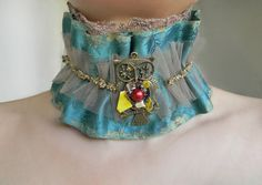Fabric Collar Necklace Collar Choker with Owl Pendant by Elyseeart
