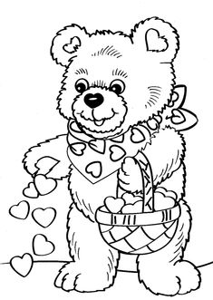 valentine's coloring pages | Valentine's Day Bear Coloring Page & Coloring Book
