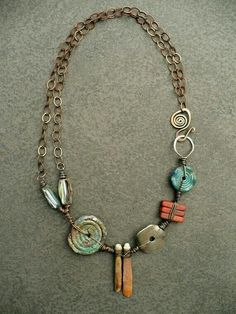 Description: Sharon Borsavage – REVOLVE necklace, sea urchin abalone shell glass by livewirejewelrysb is creative inspiration for us. Ceramic Jewelry, Clay Jewelry, Metal Jewelry, Jewelry Art, Beaded Jewelry, Unique Jewelry, Jewelry Accessories, Jewelry Necklaces, Jewelry Design