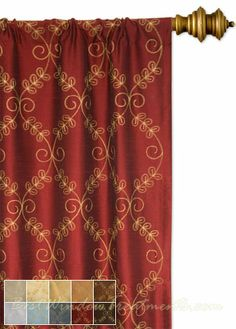 Blaise Curtains In Red Merlot Color With Scroll Multi Two