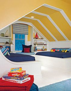 A Boat-themed Boys' Bedroom  Sailing away with a nautical look, designer Jodi Macklin gave an avid boating family's coastal vacation home in Delaware a casual beach feel. She designed the boys' bedroom as a ship's hull, complete with a ribbed ceiling and berths.