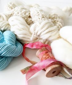 My luxury yarn packs are the perfect for small knitting, crochet, weaving or dyeing projects. (Example see photo 5)  This pack contains 5 skeins of 5 different undyed and dyed yarns, one spool of Hand Dyed Rayon Ribbon and one ball of SW Merino Top Ecru | total of 391 yds ~ 0.5 oz SW Merino Top Ecru ~ 51 yds Wool Nylon Blend ~ 51 yds Wool | Thick and Thin Spun ~ 90 yds Kid Mohair ~ 144 yds SW Merino ~ 4 yds of Hand Dyed Rayon Ribbon ~ 51 yds of Merino Silk Blend in Sea Spray or 51 yds of…