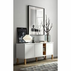 Niche 3 door sideboard in pure white and oak with etched doors and wood legs Sideboard Modern, White Sideboard, Side Board, Mid Century Sideboard, Cabinet Dimensions, Contemporary Furniture, Storage Spaces, Ikea, Living Spaces
