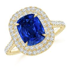 Angara Blue Sapphire Split Shank Ring With Diamond Studded Shoulders EHvgSJF