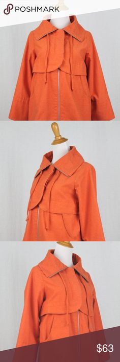"GO INTERNATIONAL Orange Twill Trench Jacket GO INTERNATIONAL Orange Brushed Cotton Blend Twill Trench Jacket This is medium weight jacket, very sturdy not light and flimsy, Made from heavier weight brushed Cotton blend, almost feels like felt. Looks like vintage, perhaps from the 1960's with big buttons and sturdy metal zipper. The perfect Spring coat, & will work for October too.  Cotton/poly blend, Excellent Condition This really looks like a vintage couture jacket.  Bust: 36""  Waist 38""…"