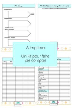 A kit to make your accounts, to print for free! – 1000 ideas to make at home - Saving Money Planner Organisation, Organization Bullet Journal, Budget Organization, Mon Budget, Faire Son Budget, Weekly Log, Family Command Center, Burn Out, Living On A Budget