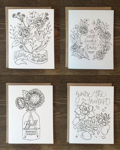 This Set Of 4 Hand Lettered Illustrated Coloring Cards Is Bursting With Adult ColoringColoring Books