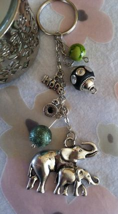 Key chain, African Elephants, Hope Charm Keychain, Purse Decor, Bag Charm, Key Ring, Silver Color With Green Beads/Silver Beads Gift For Her... #Etsy #EtsyRMP
