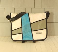 Messenger Laptop Bag by Hoist Away Bags - great commuter bag, handmade in Maine from recycled sail cloth - each bag comes with a story of the boat the sails came from.