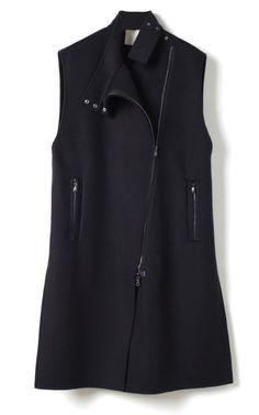 Splittable Wool Coating Sleeveless Funnel Neck Cape by 3.1 Phillip Lim