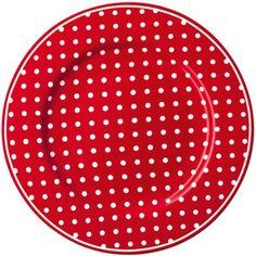 GreenGate Stoneware Plate Spot Red
