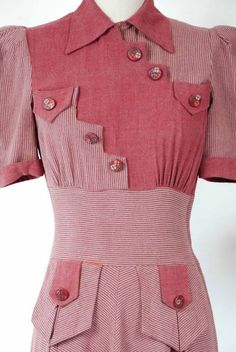 Vintage late dress made of a soft rayon wool blend, color blocking of a soft heathered plum coordinates with the plum and grey striping. 1930s Fashion, Retro Fashion, Vintage Fashion, Womens Fashion, Vintage Style Outfits, Vintage Dresses, Vintage Clothing, Jeanne Lanvin, 1930s Dress