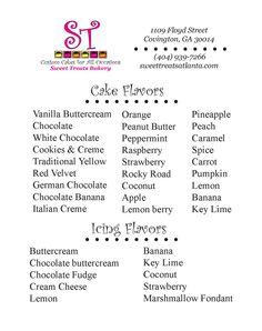 cake flavors list google search