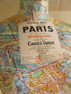 Paris Map Covering Dress Form
